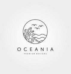 tropical island logo line art minimalist symbol vector image