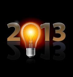 Twenty thirteen year light bulb on black vector