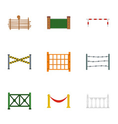 Urban fence icons set flat style vector