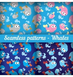Whales Set of abstract seamless pattern Template vector image