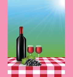 wine bottle with glasses on picnic tablecloth vector image