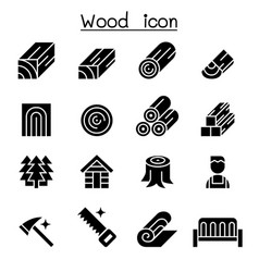 Wood icon set vector