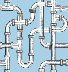 doodle pipes pattern seamless vector image vector image