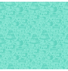 Seamless hand written pattern for tea time theme vector image vector image