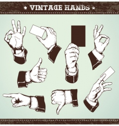 Set of vintage hands vector