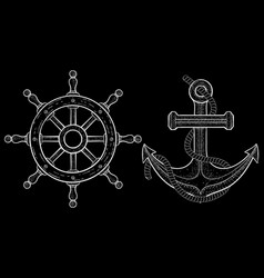 steering wheel and anchor signs hand drawn white vector image vector image