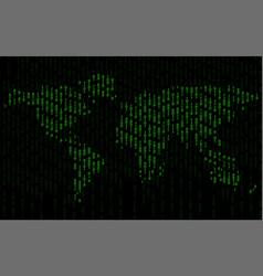 abstract world map of binary computer code vector image