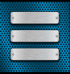 blue metal perforated background with chrome vector image vector image
