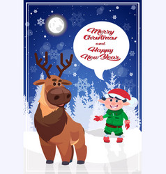 merry christmas elf and reindeer on holiday vector image