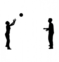 playing with ball silhouette vector image vector image
