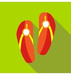Red beach slippers icon flat style vector