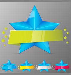 set of blue stars with ribbons collection for vector image