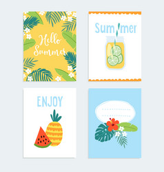 set of hand drawn summer journaling cards vector image