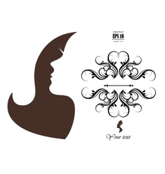 silhouette of a girl with long hair vector image
