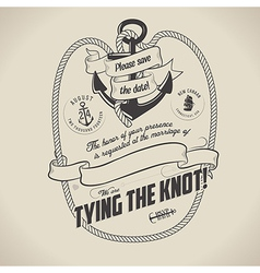 Vintage nautical themed wedding invitation vector image vector image