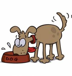 dog eating food vector image