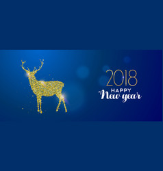 happy new year 2018 gold glitter deer holiday card vector image vector image