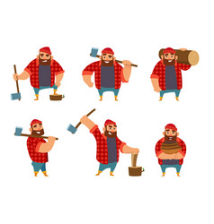 lumberjack in different poses holding axe in hands vector image