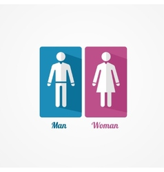 Man and Woman flat icon with shadows vector image
