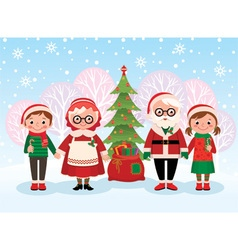 Santa Claus and children celebrate Christmas vector image