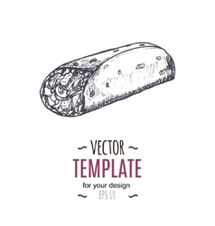 vintage burrito drawing Hand drawn vector image