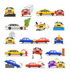 car crash set vector image