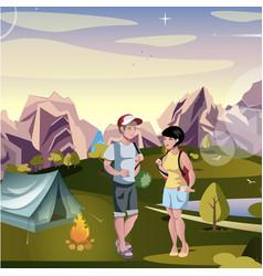couple tourist hiking landscape background vector image vector image
