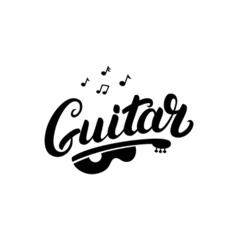 Guitar hand written lettering logo emblem label vector