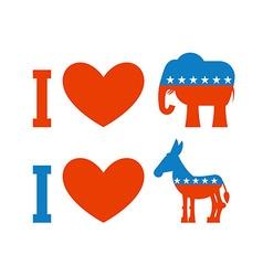 I love democrat I like Republican Symbol of heart vector image