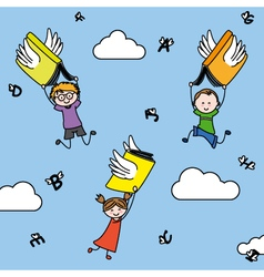letters and books with wings carry children vector image vector image