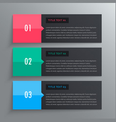 options infographic design with three steps vector image