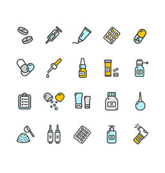 pills related medical color thin line icon set vector image