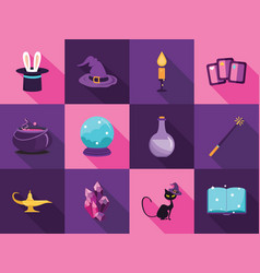 set collection of cartoon magic flat icons vector image