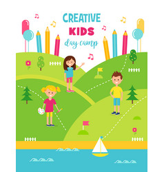 summer creative art camp for kids poster template vector image