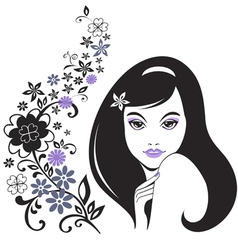 young girl with flowers vector image