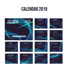 2019 modern calendar background collection vector