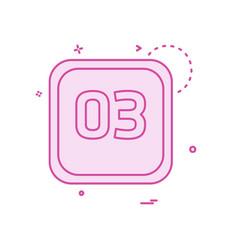 3 date calender icon design vector image