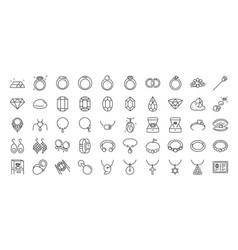 50 jewelry line icon set vector image
