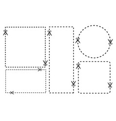 A cut out coupon rectangle shape with scissors vector