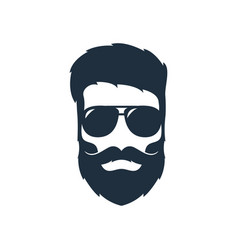 a hipster head with a beard mustache and vector image