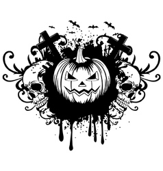 abstract background pumpkin and two skulls vector image