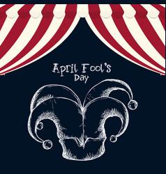 April fools day hat joker sketch vector