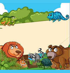 background template with may animals vector image