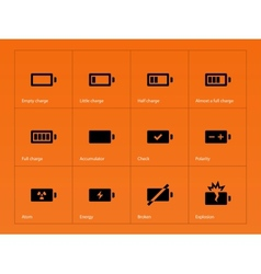 Battery icons on orange background vector