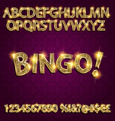 Bingo Golden glowing alphabet vector image