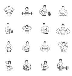 Bodybuilding fitness gym icons black vector