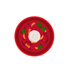 borsch traditional dish bowl vector image