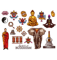 Buddhism religion meditation sketch symbols vector