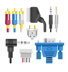 Cable and connector adapter and plug technology vector