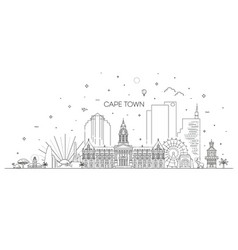 Cape town architecture line skyline vector